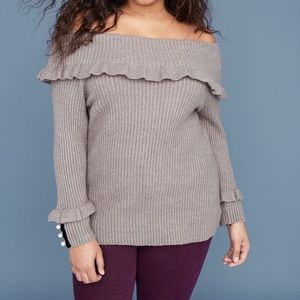 Lane Bryant Gray Off the Shoulder Sweater - 22/24